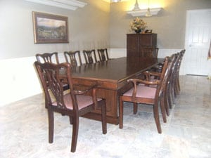 Clean dining room in a customer's house